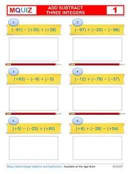 Add and Subtract Three Integers - Open Ended