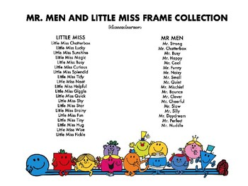 *SALE* MR. MEN AND LITTLE MISS PERSONALISED FRAMES