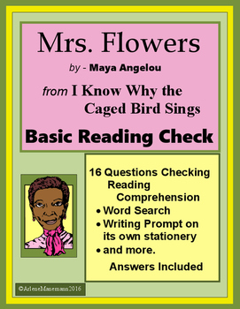 MRS. FLOWERS Basic Reading Check, Writing Prompt and more