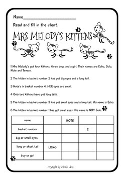 MRS MELODY'S KITTENS LOGIC PUZZLE