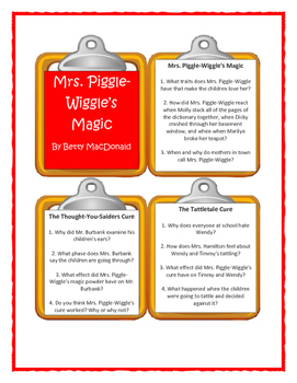 MRS. PIGGLE-WIGGLE'S MAGIC by Betty MacDonald - Discussion Cards
