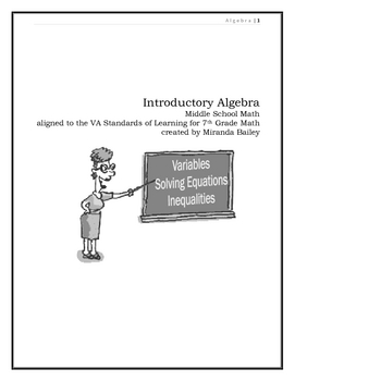 MS Algebra Unit - Variables,  Like Terms, Equations, Inequalities
