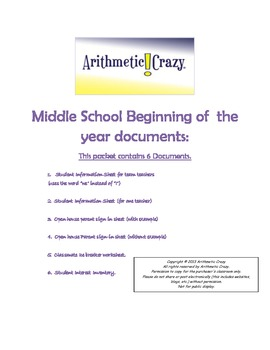 Back To School, MS Docs: Info Sheet, Interest Inventory, Icebreaker, and more!