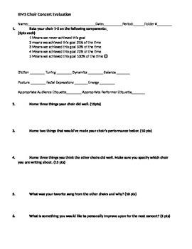 MS Choir Concert Evaluation