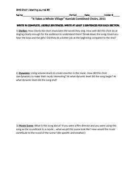 MS Choir Listening Journal #2