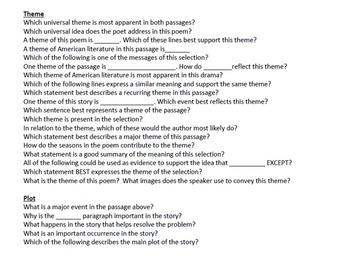 MS Common Core Guided Reading Questions for Reading, Language, and Writing