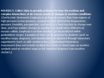 MS ESS2-5 Air Masses and Weather PowerPoint