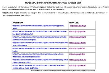 MS-ESS3-2 Earth and Human Activity Article List