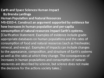 MS-ESS3-4 Human Impact and Natural Resources PowerPoint