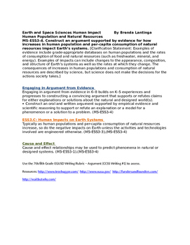 MS ESS3-4 Human Impact and Natural Resources