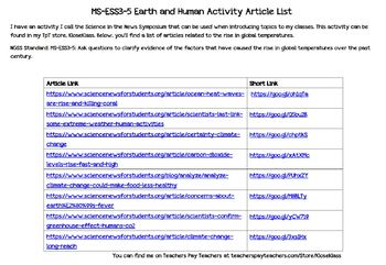MS-ESS3-5 Earth and Human Activity Article List