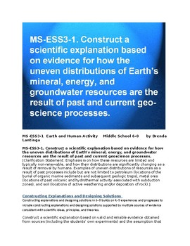 MS-ESS3 1 Uneven Distribution of Earth's Resources