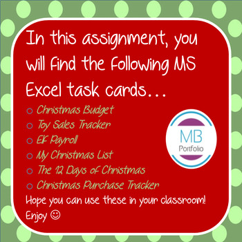 MS EXCEL:  Christmas Task Cards