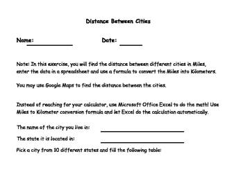 MS Excel Project - Finding the distance between cities