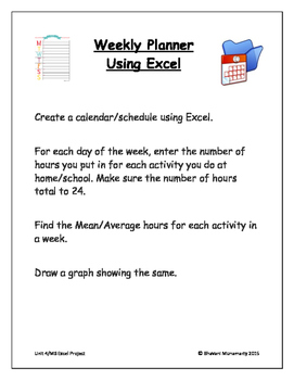 MS Excel Project - Creating a Weekly Planner