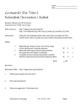 MS-HS Art / Davinci Web Activity