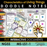 MS-LS1-1 Characteristics of Living Things Doodle Note Plus