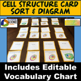 MS-LS1-1 & MS-LS1-2: Cell Structure Card Sort, Cell Diagram and Vocabulary Chart