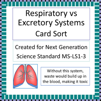 MS-LS1-3 Respiratory vs Excretory Systems Card Sort
