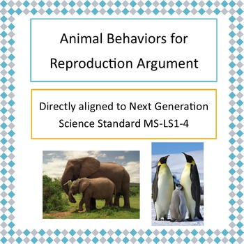 NGSS MS-LS1-4 Animal Behaviors for Reproduction Argument Activity