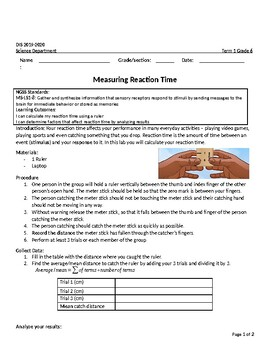 MS-LS1-8: Measuring reaction time INVESTIGATION activity