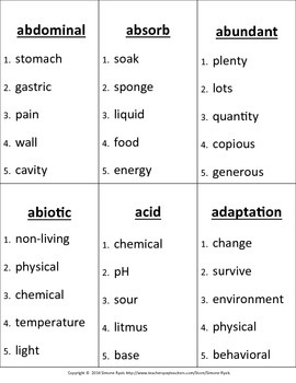 MS Middle School LIFE Science Vocabulary Game NGSS Next Generation