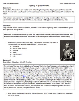 MS NGSS: Genetic Disorders DBQ