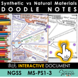 MS-PS1-3 Synthetic and Natural Materials Doodle Notes plus