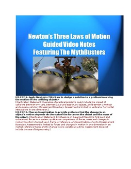 MS-PS2-1. & 2 Video Examples of Newton's Law with Guided Notes