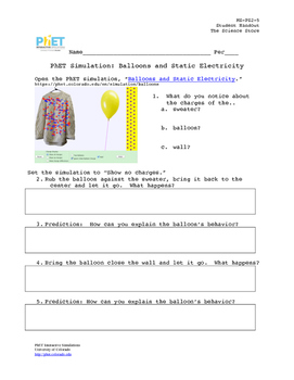 MS-PS2-5:  Balloons and Static