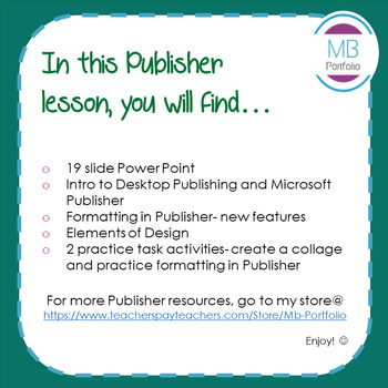 MS PUBLISHER:  Lesson & Task Activities on Formatting & Elements of Design