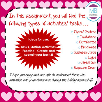 MS PUBLISHER:  Valentine's Day Holiday NO PREP Activities/ Tasks