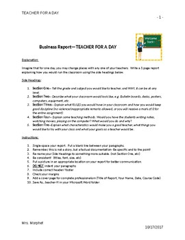 MS WORD:  Business Report- Teacher for a Day