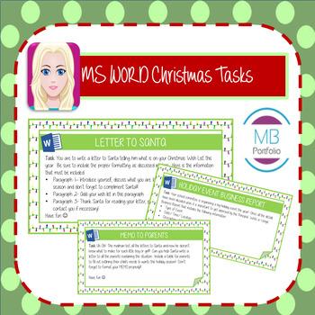 MS WORD:  Christmas TASKS Cards