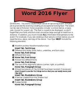 MS Word 2016 Flyer