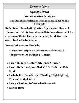 MS Word Activity - Career Clusters Brochure