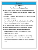 MS Word Project - Creating a Restaurant Menu