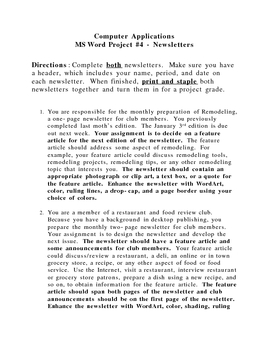 MS Word Project - Newsletters