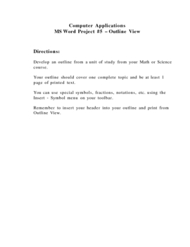 MS Word Project - Outline View