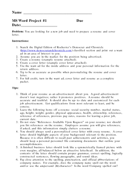 MS Word Project - Resume and Cover Letter