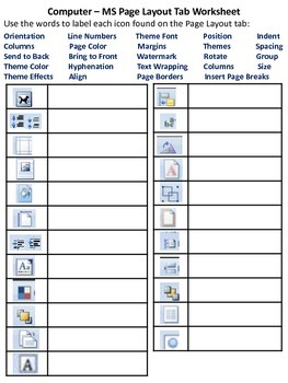 MS Word Ribbon - Page Layout Tab Worksheet
