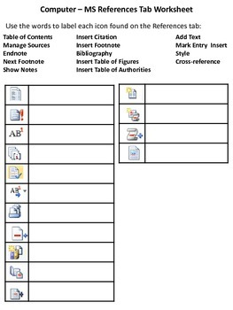 MS Word Ribbon - References Tab Worksheet