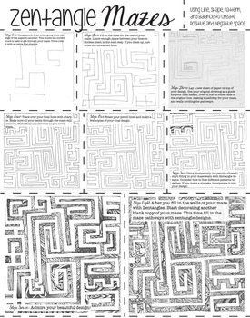 MS or HS Maze Runner Art Activity: Zentangle Maze Step by Step Instructions
