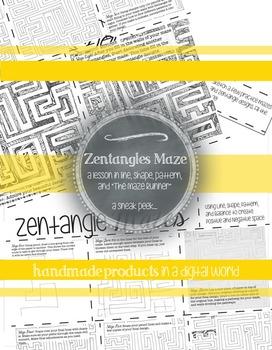 MS or HS Maze Runner Art Activity: Zentangle Maze Step by