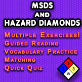 MSDS and Fire Hazard Diamond Reading Handouts with Quizzes, Matching, Vocabulary