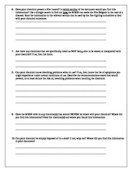 MSDS documents and student investigators companion worksheet