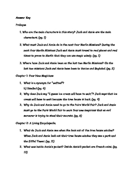 MTH: Night of the New Magicians Mary Pope Osborne Comprehension Packet
