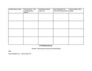 MTSS RTI CST Record Form