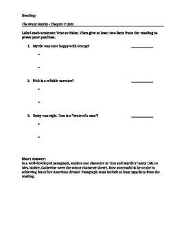 MTYA reading quiz - The Great Gatsby Quiz chapter 2
