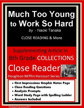 MUCH TOO YOUNG TO WORK SO HARD Close Reading and More